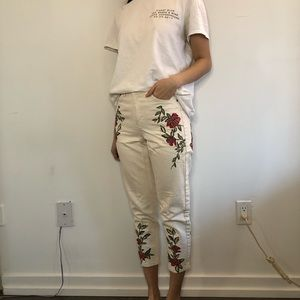 Topshop Embroidered Flower White Mom Jeans